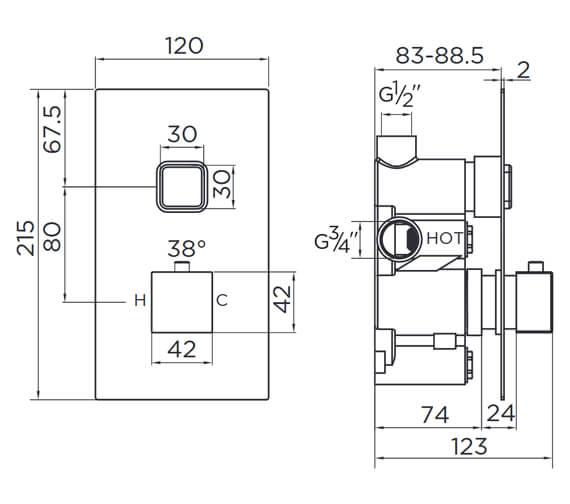 Technical drawing QS-V93856 / 9374