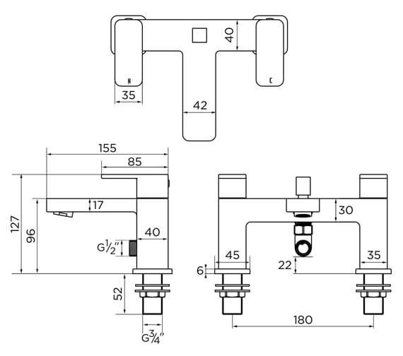 Technical drawing QS-V93865 / 9138BL