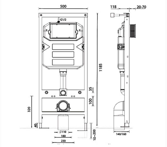 Technical drawing QS-V98068 / BEO-1180FRAME