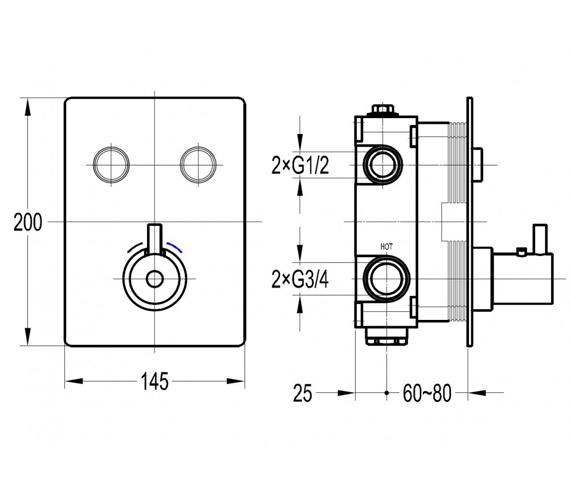 Additional image of Flova Levo Thermostatic GoClick Trim Kit With GOBOX