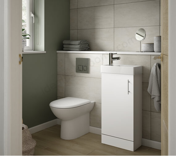 Essential Alaska Single Door Floor Standing Cloakroom Unit With Basin - 400mm