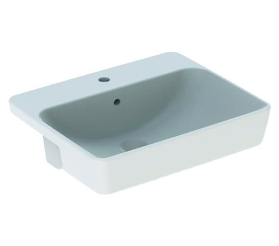 Geberit VariForm Square 550 x 450mm Semi-Recessed Basin White