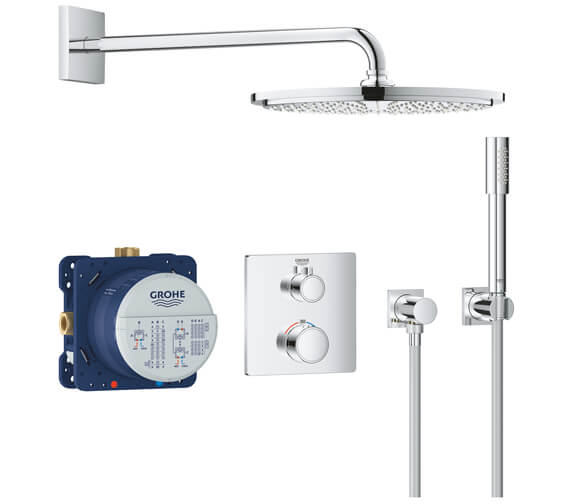 Grohe Grohtherm Perfect Chrome Shower Set With Rainshower Cosmopolitan 160