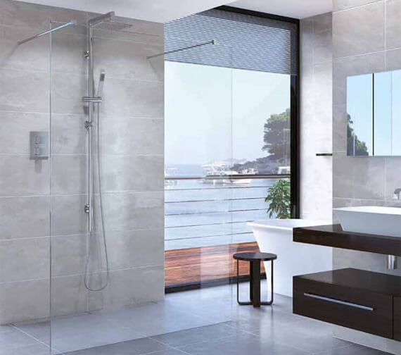 Additional image of Aqata Spectra Double Entry Walk-In Shower Screen With Steady Bar Fixing