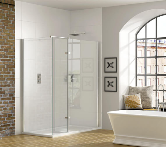Aqata Spectra SP447 Corner Walk-In Enclosure With Hinged Panel - Clear Glass