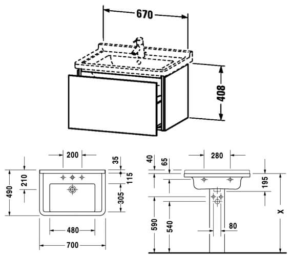 Technical drawing QS-V63805 / LC616401818
