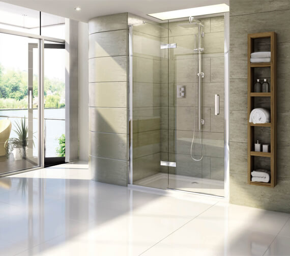 Aqata Spectra SP459 Clear Glass Recess Hinged Shower Door And Inline Panel