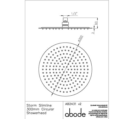 Additional image of Abode Storm Slimline Circular Stainless Steel Showerhead