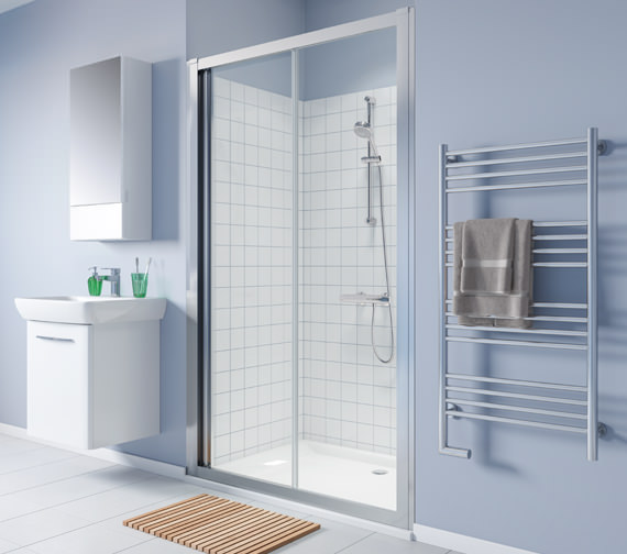 Additional image of Twyford Geo Heavy-Duty Sliding Shower Door With 8mm Thick Glass