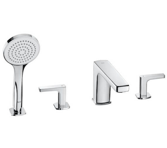 Roca Escuadra Bath Shower Mixer With Short Spout Diverter And Handshower
