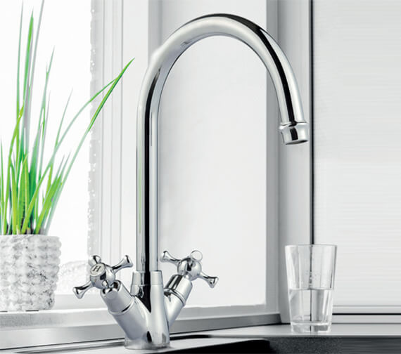 Clearwater Cottage C Twin Lever Kitchen Sink Mixer Tap With Dual Flow