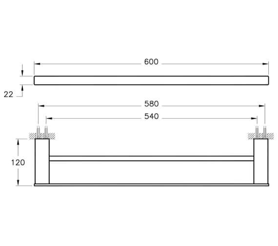 Additional image of VitrA Projekta 600mm Chrome Towel Rail