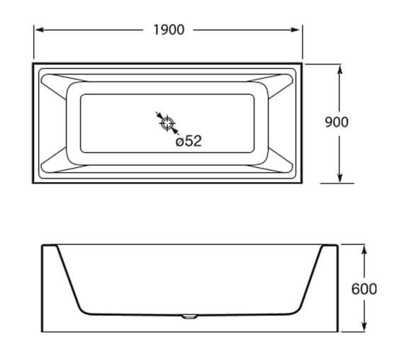 Additional image of Roca Modo Rectangular Surfex Bath with Waste Kit 1800 X 800