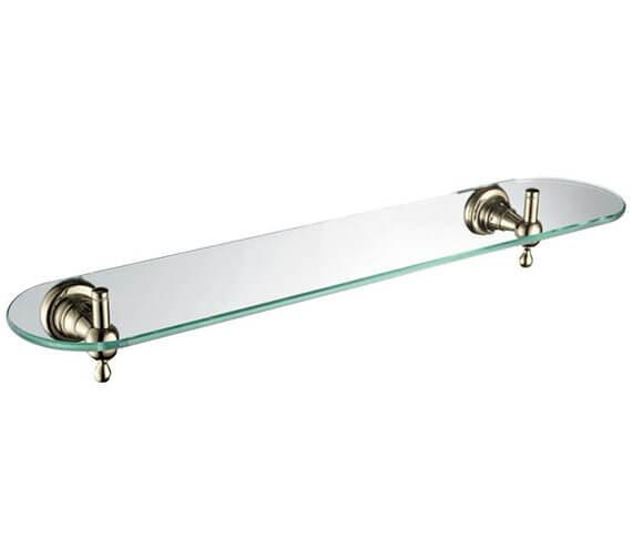 Alternate image of Heritage Holborn 550mm Single Glass Shelf With Chrome Brackets