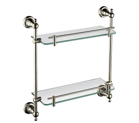 Alternate image of Heritage Holborn 410mm Double Glass Shelf With Chrome Brackets