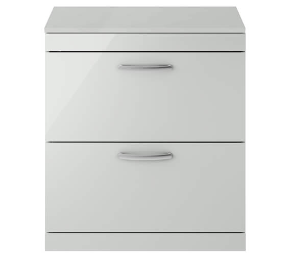 Alternate image of Premier Athena 800mm 2 Drawer Floor Standing Vanity Unit With Worktop Gloss White Finish