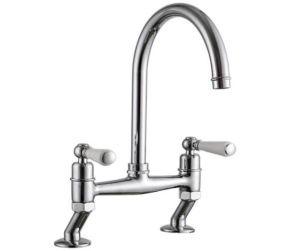 Clearwater Dephini Bridge C Twin Lever Kitchen Sink Mixer Tap