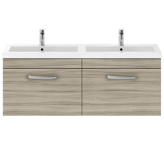 Nuie Premier Athena 1200mm Wall Hung 2 Drawer Cabinet With Double Basin
