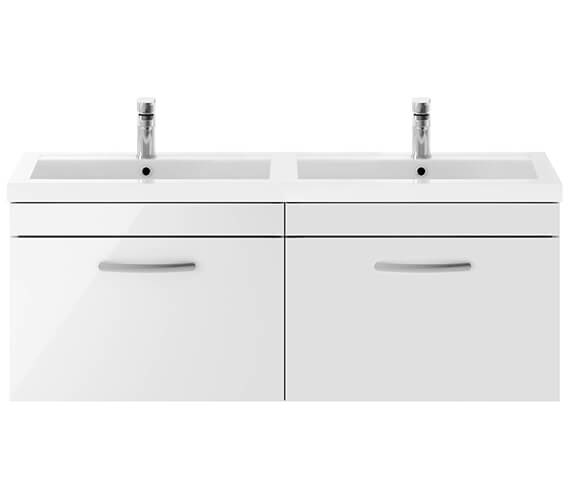Nuie Athena 1200mm Wide Wall Hung 2 Drawer Cabinet And Double Basin