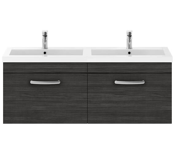 Alternate image of Nuie Premier Athena 1200mm Wall Hung 2 Drawer Cabinet With Double Basin