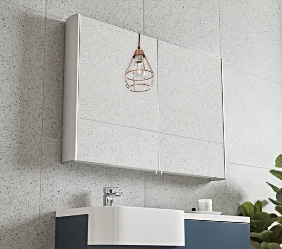 Additional image of Tavistock Move Large Double Mirror Door Aluminium Cabinet