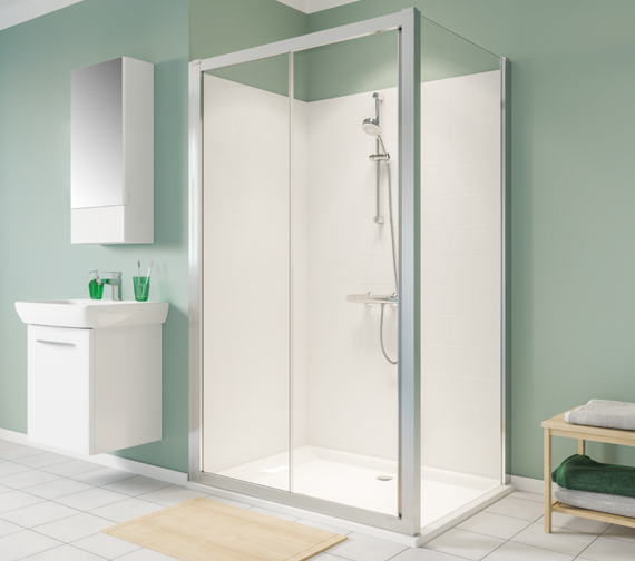 Additional image of Twyford Geo Sliding Shower Door With 6mm Glass