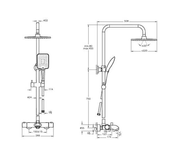 Additional image of VitrA Aquaheat RH3 Thermostatic Bath Shower System Set