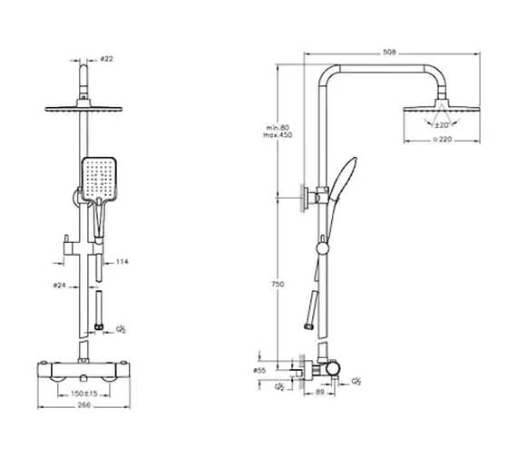 Additional image of VitrA Aquaheat RH3 Thermostatic Shower Set