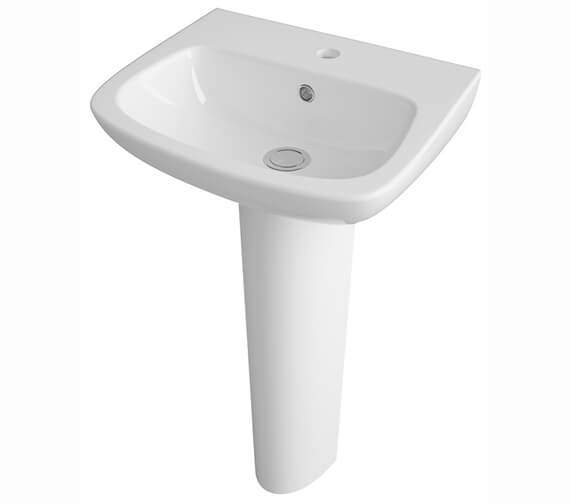 Nuie Ambrose Wall Mounted 1 Tap Hole Basin With Full Pedestal