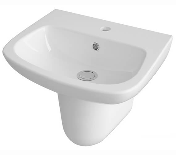 Alternate image of Nuie Ambrose Wall Mounted 1 Tap Hole Basin With Full Pedestal