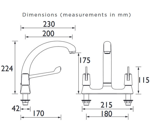 Additional image of Bristan Value Lever Deck Kitchen Sink Mixer Tap