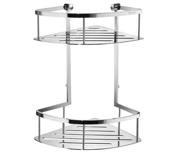 Smedbo Sideline Double 322mm Height Corner Shower Basket