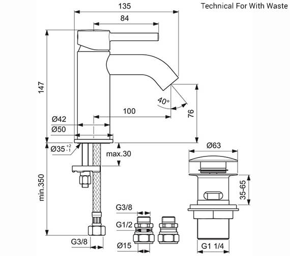 Additional image of Ideal Standard Ceraline Single Lever Basin Mixer Tap