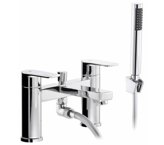 Abode Flux Chrome Deck Mounted Bath Shower Mixer Tap With Kit