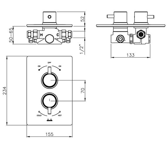 Additional image of Abode Harmonie Concealed Thermostatic Shower Valve