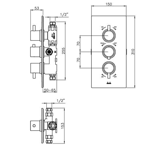 Alternate image of Abode Harmonie Concealed Thermostatic Shower Valve
