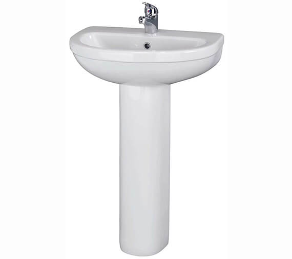 Additional image of Nuie Premier Ivo 550mm Wall Mounted 1 Tap Hole Basin With Semi Pedestal