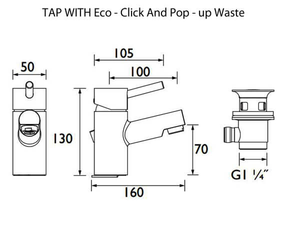 Alternate image of Bristan Prism Deck Mounted Basin Mixer Tap