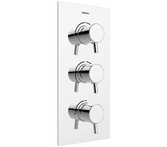 Bristan Prism Thermostatic Recessed 3 Handle Control Shower Valve With 2 Outlet Diverter And Stopcock