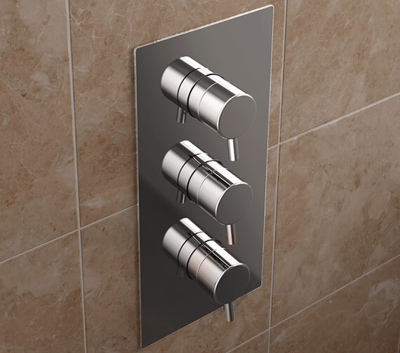 Bristan Prism Thermostatic Recessed 3 Handle Control Shower Valve with Integral Twin Stopcocks