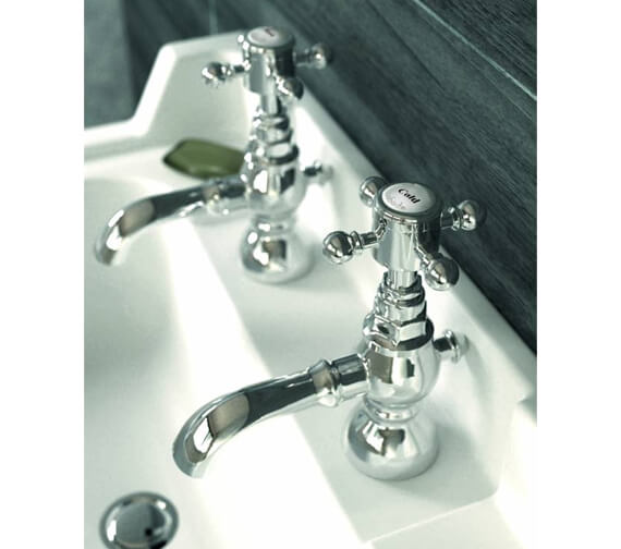 Abode Sentiment Deck Mounted Pair Of Basin Pillar Taps