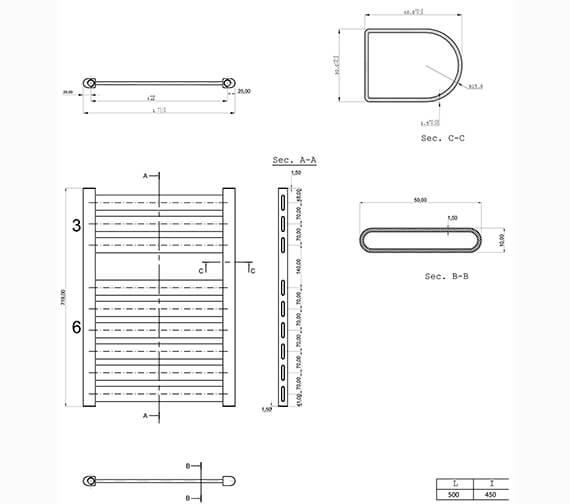 Technical drawing QS-V29440 / ED50X72A