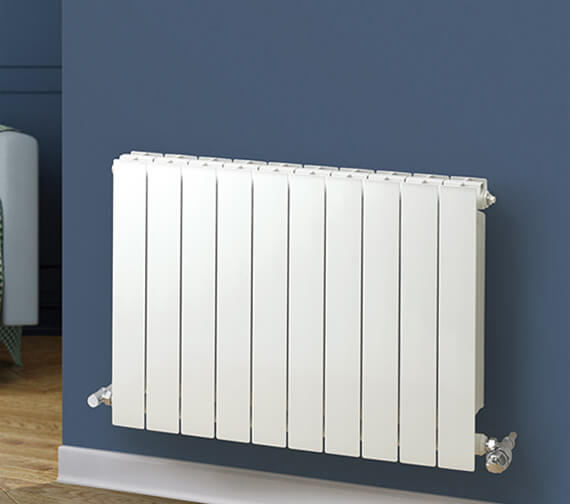MHS Rads 2 Rails Holborn Horizontal White Aluminium Radiator 407mm High