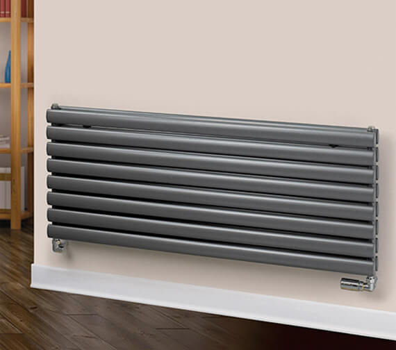 MHS Rads 2 Rails Finsbury 1200 Wide x 480mm High Horizontal Radiator - Single / Double