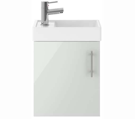 Alternate image of Premier Vault Gloss White 400mm Single Door Wall Hung Unit With Basin