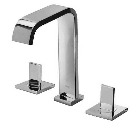Roca Flat 3 Hole Deck Mounted Basin Mixer Tap With Pop Up Waste