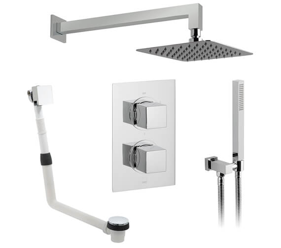 Vado DX 3 Outlet Thermostatic Valve With Aquablade Square Shower Head And Mix2 Kit