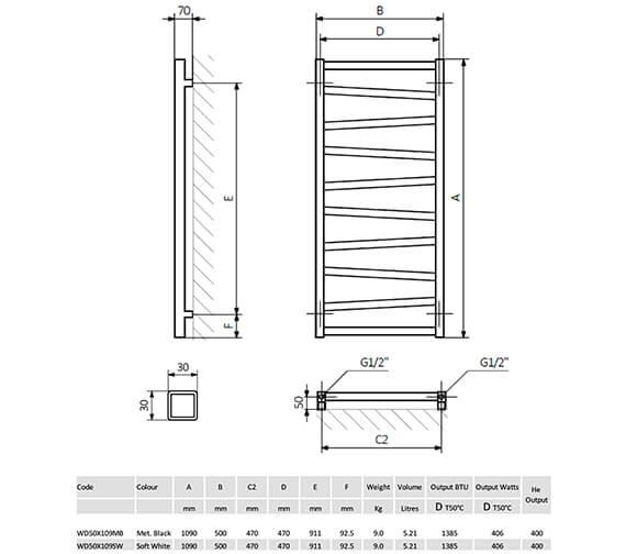 Technical drawing QS-V8866 / WD50X109MB
