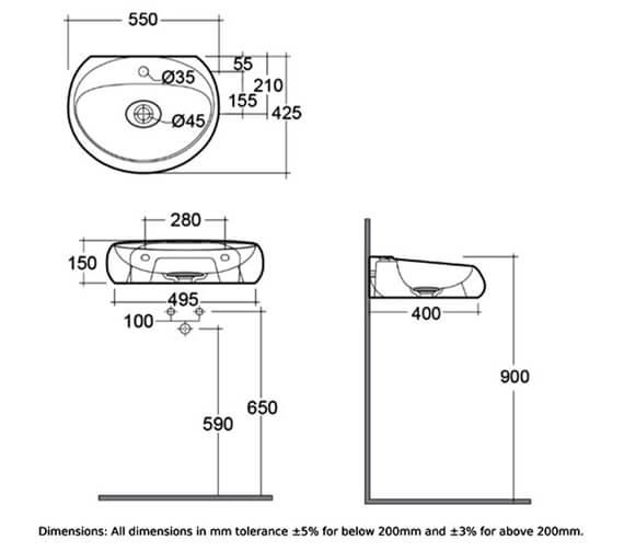 Technical drawing QS-V99483 / CLOWB5501AWHA