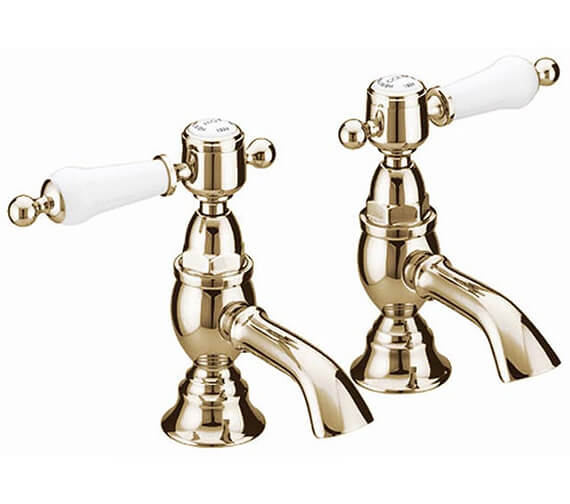 Additional image of Heritage Glastonbury Chrome Basin Pillar Taps With White Lever
